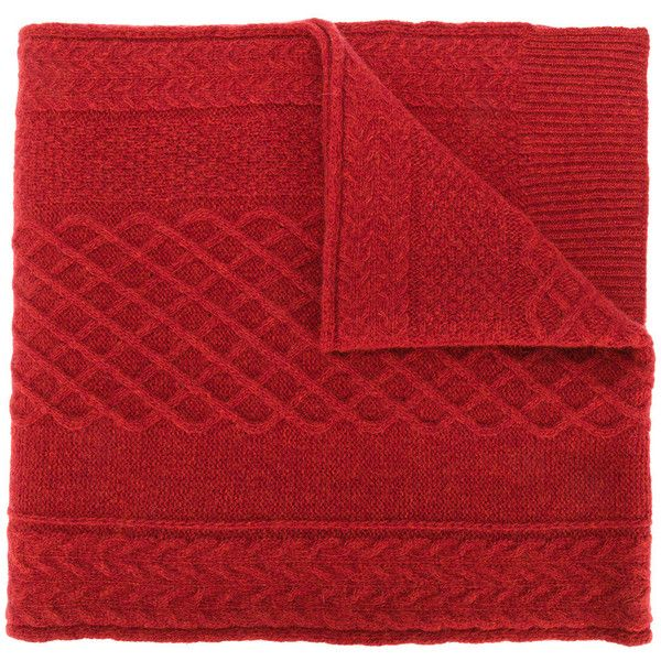 Pringle Of Scotland cable knit scarf (27.930 RUB) ❤ liked on Polyvore featuring accessories, scarves, red, red shawl, cable knit scarves, red scarves, cable knit shawl and pringle of scotland