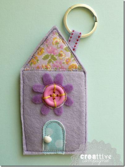 portachiavi - porta monete casetta - key ring - house - felt