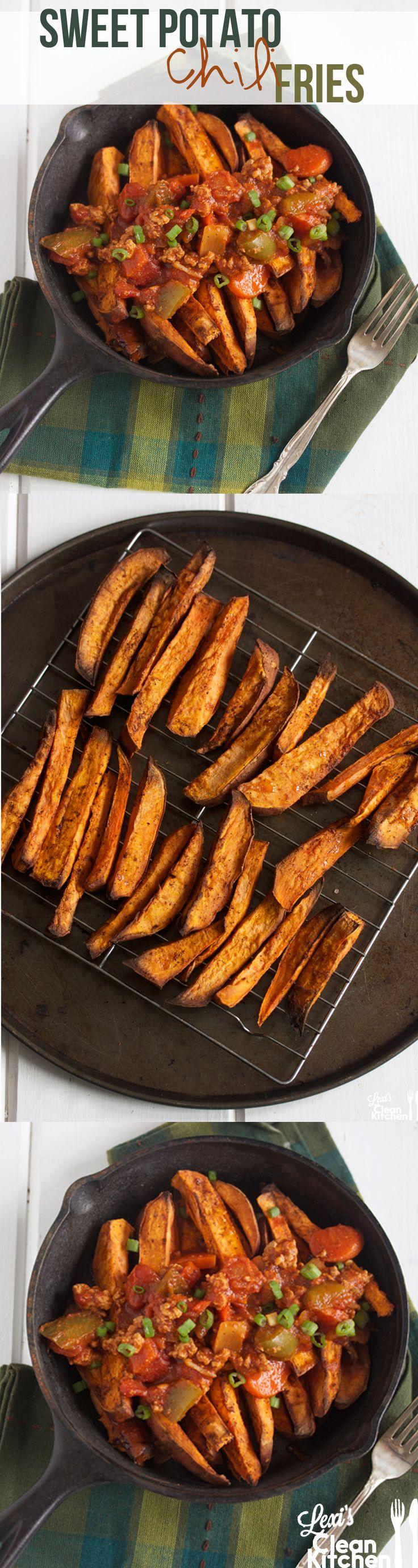 Sweet Potato Chili Fries + How to get crispy wedges! via @Alexis Kornblum | Lexi's Clean Kitchen #Fitfluential #EAT #Paleo
