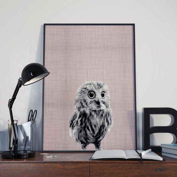 Owl Nursery Decor Owl Print Owl Wall Art Pink di DamaDigitalDesign