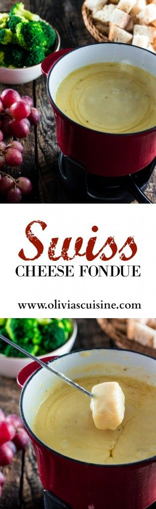 Swiss Cheese Fondue | www.oliviascuisine.com | Take date night to a whole new level with this classic Swiss Cheese Fondue. Because nothing says romance like sharing a pot of melted cheese!