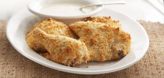 Oven Fried Saltine Chicken with Ranch Gravy