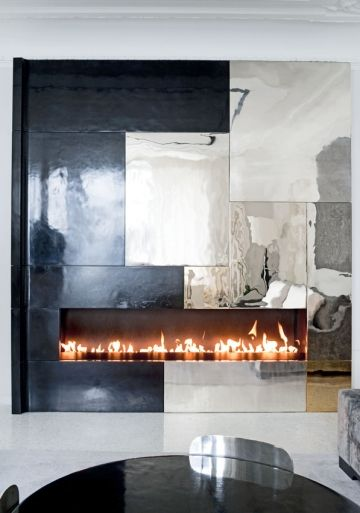 For Chimney Cladding Aluminium : Fab fireplace by eric schmitt i love how he has played