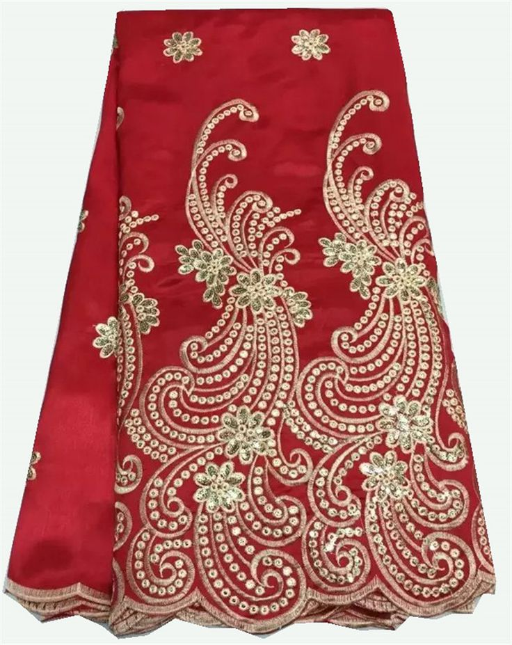 Red African Lace Fabric High Quality Nigerian Lace Fabrics Embroidered Mesh Materials Latest African Laces 2016 For Wedding C47 #Affiliate
