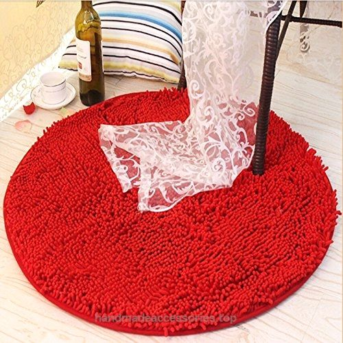 Ustide Comfortable Rug Shaggy Chenille Rug Round Non-Slip Absorbent Floor Mat Chair/Bathroom/Bedroom Rug Dark Red  Check It Out Now     $32.00    Shaggy Collection is machine-made using chenille fiber. These contemporary shag / shaggy rugs will make a colorful an ..  http://www.handmadeaccessories.top/2017/04/03/ustide-comfortable-rug-shaggy-chenille-rug-round-non-slip-absorbent-floor-mat-chairbathroombedroom-rug-dark-red/