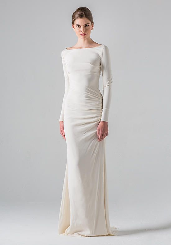 Long sleeve gown of silk stretch Charmeuse with beaded applique at low sheer back | Black Label Anne Barge | https://www.theknot.com/fashion/colmar-black-label-anne-barge-wedding-dress