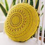 Crochet Pom Pom Cushion - free pattern at Commonthreads DMC.