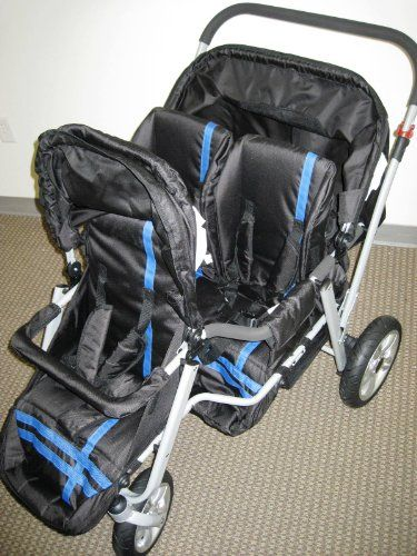 Blue And Black Triple Trio Tandem Baby Jogger Stroller