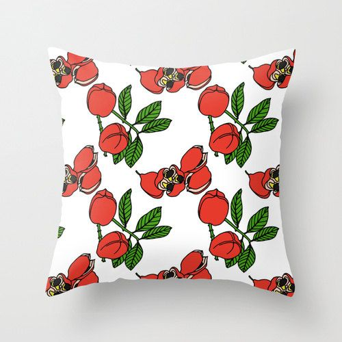 Ackee  Jamaican Botanicals Throw Cushion Covers by RobinClareArt
