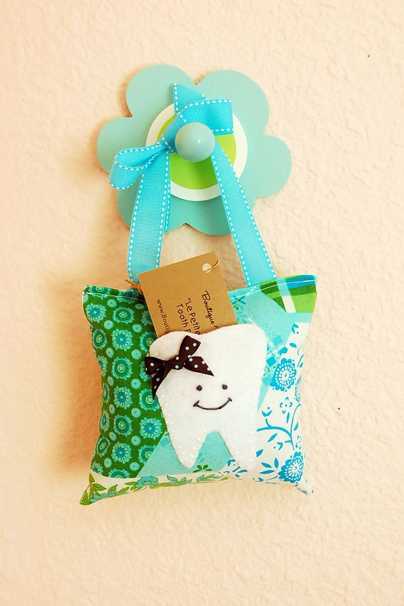 Petite Boutique Eco Felt Tooth Fairy Pillow in Patchwork Teal.. I would use this idea to make scented pillows.
