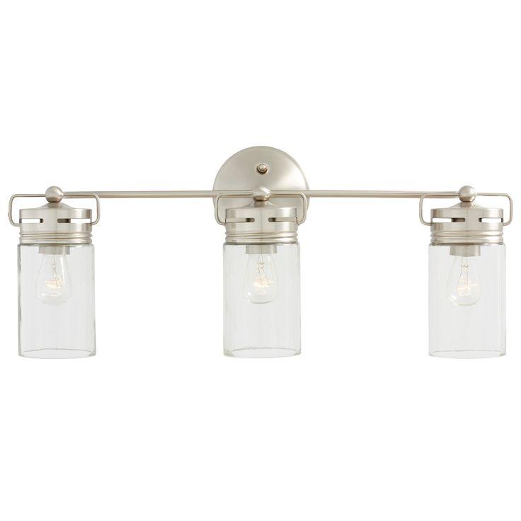 allen + roth Vallymede 3-Light 10.2-in Brushed Nickel Cylinder Vanity Light