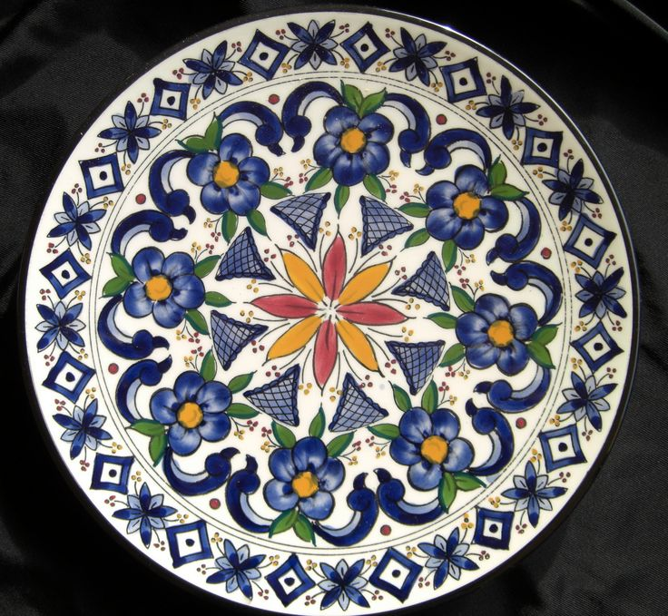 Made in spain moroccan decorative plate 70 39 s ceramar flowers blue white orange design - Decoratieve platen ...
