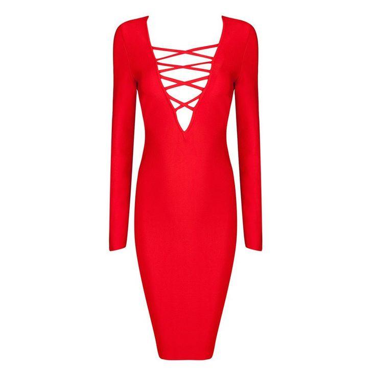 Posh Girl Cross Her Heart Long Sleeve Bandage Dress-Red-S