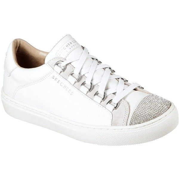 Skechers Women's Side Street - Bling Street White - Skechers ($65) ❤ liked on Polyvore featuring shoes, sneakers, white, lace up shoes, hidden wedge sneakers, white trainers, white lace up shoes and lace up sneakers