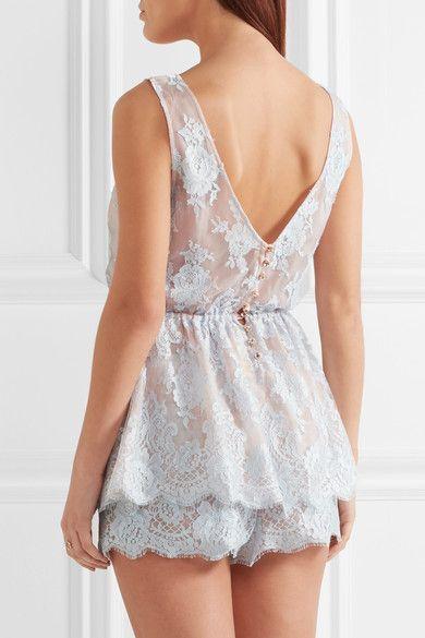 Rosamosario - Sweet Sumatra Lace And Silk-chiffon Pajama Shorts - Sky blue - x small