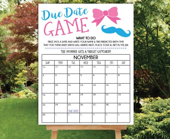 Due Date Game Printable Poster File, PDF Printable, Gender Reveal Party, Guess the Due Date Game, Prediction Calendar, Baby Shower Game