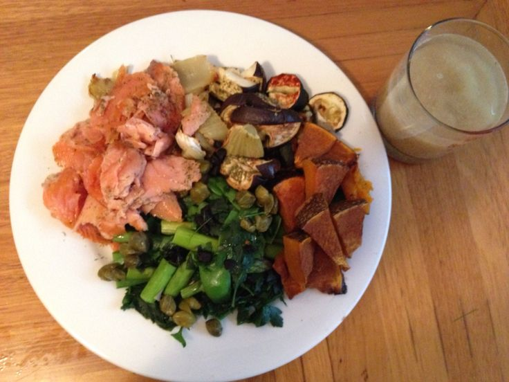 Dinner   -4oz pan heated smoked salmon (with fresh lime, dried dill, ground corriander, ground Nutmeg) -12oz Baked Pumpkin(with cinnamon), Fennel(with thyme) Zucchini(with paprika) Eggplant(with parsley) Steamed- Asparagus, Snow peas (with fresh basil and parsley) black garlic & capers     -1 tbsp flaxseed meal    -1 tbsp sesame/ lemon flavoured olive oil