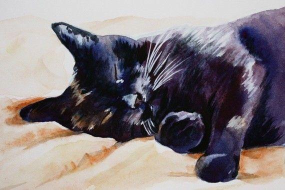 Black Cat Sleeping watercolor cat art print by ChristyObalek