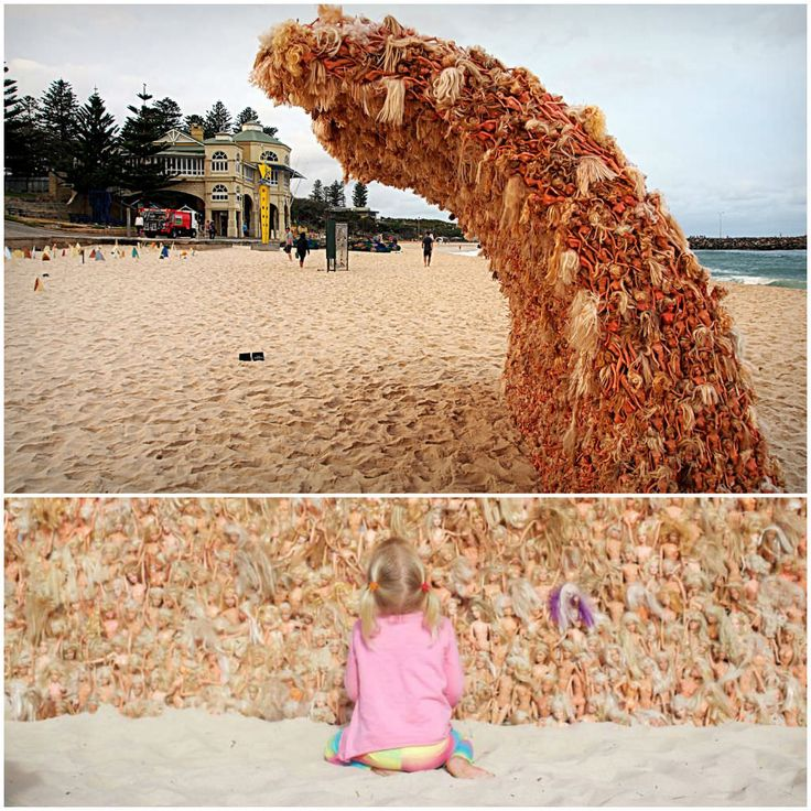 This wave sculpture was made by Belgian-born and Australia-based artist Annette Thas from hundred of upcycled Barbie dolls alluding to childhood memories and environmental concerns. This sculpture was made as part of a public exhibition called &qout;Sculpture By The Sea&qout;. The making of this wave of Barb…