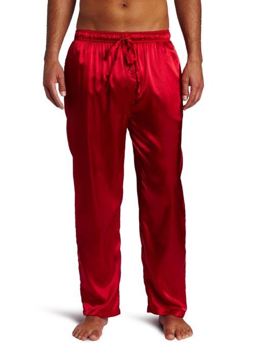 Mens Red Satin Pajama Pants