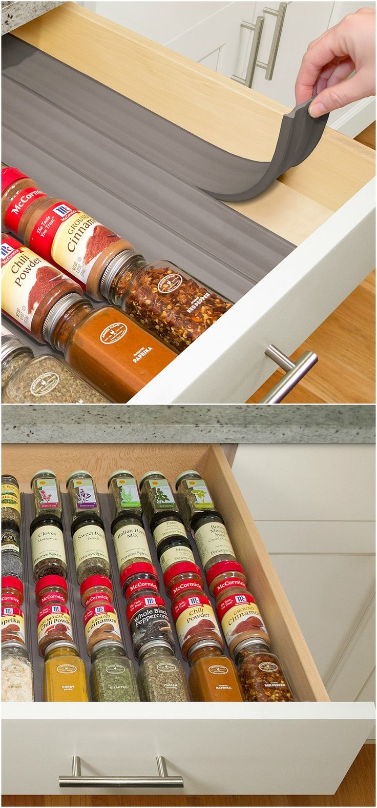 in-drawer spice organization liner
