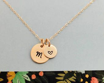 Initial Necklace, Gold Initial Necklace, Gold Monogram Necklace, Simple Personalized Necklace, Initial and heart