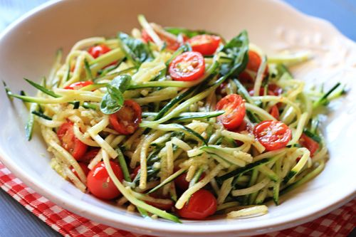 zucchini and summer cherry tomatoes. italian summer salad dish