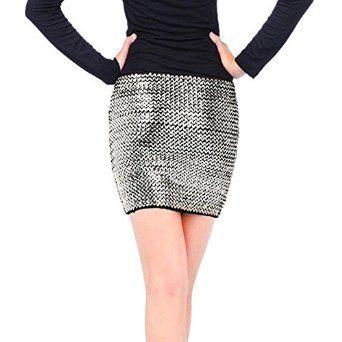Weixinbuy Women's Sexy Shiny Glitter Sequin BodyCon Party Short Mini Skirt