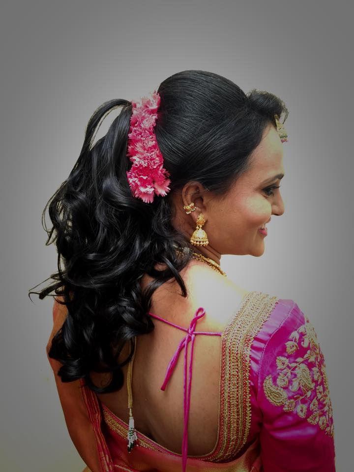Indian bride's bridal reception #hairstyle by Swank Studio. Find us at https://www.facebook.com/SwankStudioBangalore  #Saree #Blouse #Design