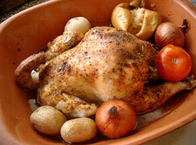 Pollo asado en Romertopf
