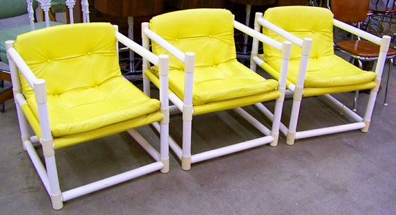 Sling chair sofa ottoman 1960s mod PVC pipe by AntiqueAddictions