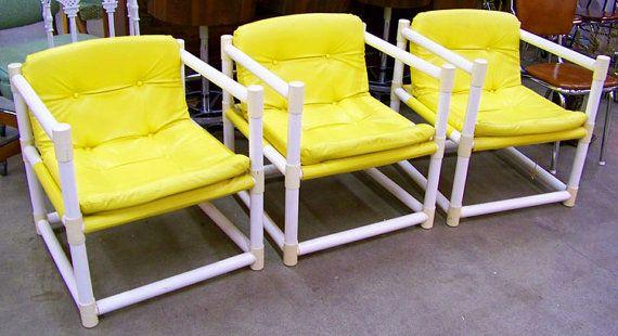 Sling Chair Sofa Ottoman 1960s Mod Pvc Pipe By