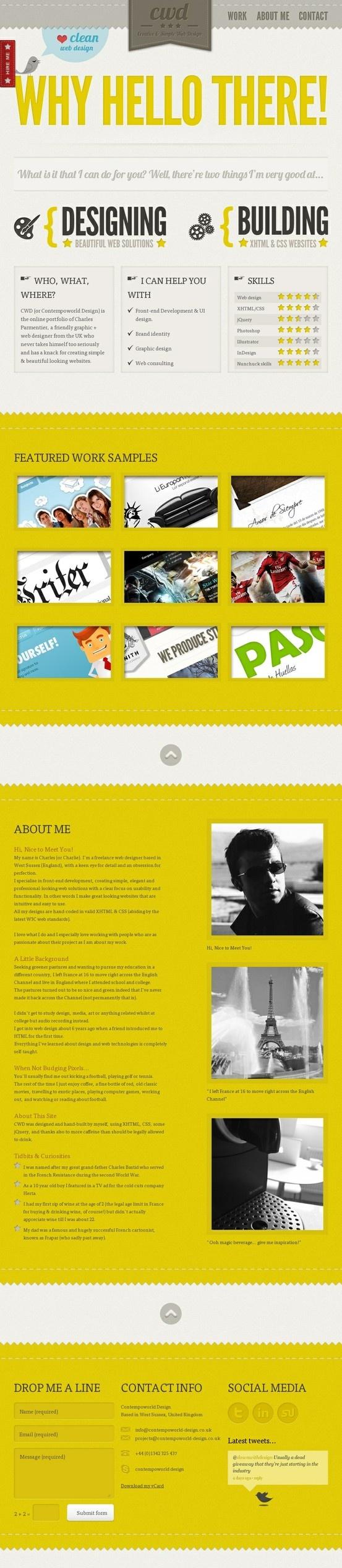 #Web #Yellow    Deze website is ook weer een beetje de vintage stijl wat me meestal erg aanspreekt! Dit komt doormiddel van goedgebruikte kleuren geel en beige bruin ook hier is de typografie goed gebruikt en ook een overzichtelijke website met goede vlak verdeling!