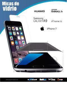 Ofrecemos gran variedad de Micas de vidrio para toda clase de marcas como iPhone7- iPhone6 - Huawei GR3 - Huawei GR5 -LGK10 - Samsung J7 - Samsung Galaxy J7 -Samsung Galaxy A9 - Huawei G9