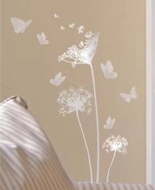 *NEW Main Street Wall Creations Silver Decal Sticker Flowers Blowing In The  Wind #MainStreetWallCreations Part 63
