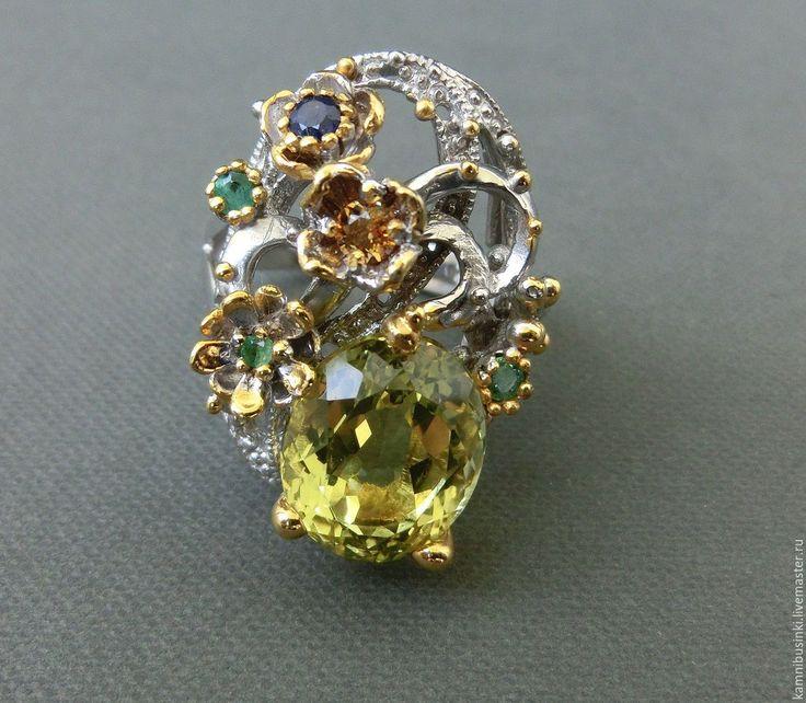 Купить 19 р-р Кольцо лимонный кварц изумруд серебро 925 пробы золото