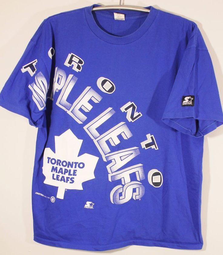 Vintage 1993 NHL Hockey Toronto Maple Leafs Starter Mens Graphic T Shirt Size XL #Starter #Tshirt #TorontoMapleLeafs