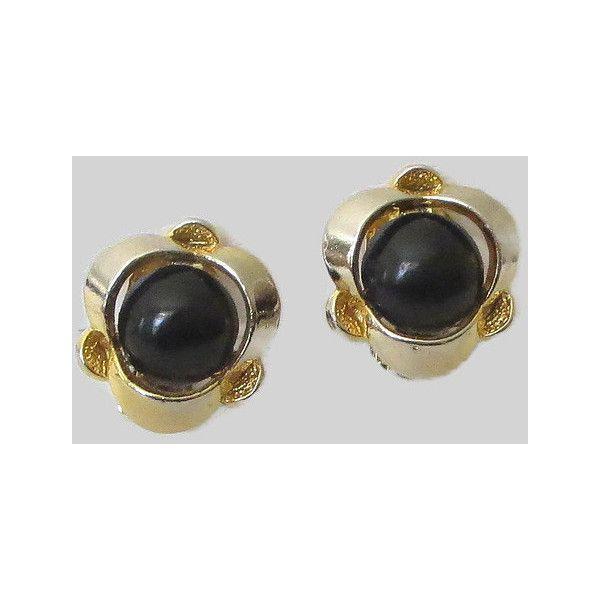 Orecchini a bottone nero dell'annata, cabochon in plastica nera tono... ($5) ❤ liked on Polyvore featuring costumes