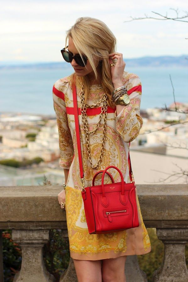 Delicate scarf dress, big chunky chains, vibrant purse ... this works!: Atlantic Pacific, Spring Dresses, Style, Celine Bags, Dresses Fashion, Color, Scarfs, The Dresses, Silk Scarves
