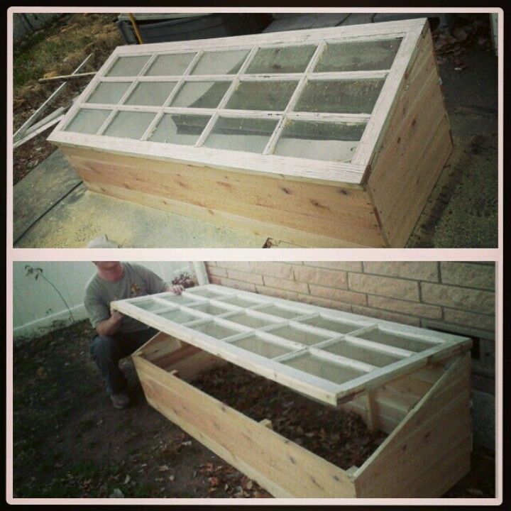 Greenhouse out of cedar and a repurposed French door
