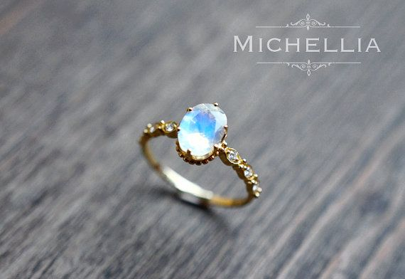14/18K Rainbow Moonstone Engagement Ring with Diamond, Solid Gold Moonstone Crown Promise Ring, Blue Moonstone, Vintage Moonstone Ring