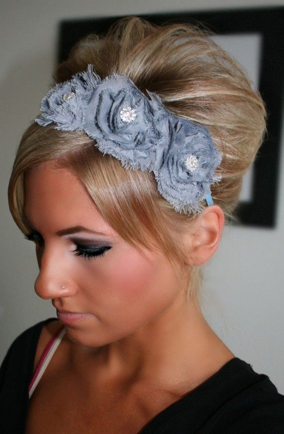You can find lots and lots of cute, original hand-made headbands and clips on Etsy. This one is grey Chiffon flowers with rhinestones.