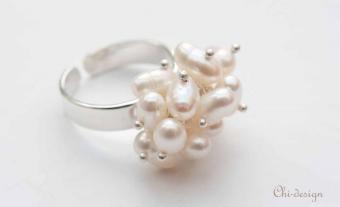 Parel Sieraden: Parel ring witte zoetwaterparels,    Zilveren ring van witte rijstvormige parels