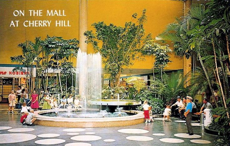 Cherry Hill, New Jersey - circa 1960's   O n The Mall at Cherry Hill! Here's a very groovy sixties interior postcard view of the water foun...