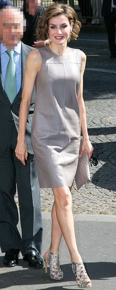 Queen Letizia of Spain dons a short grey Leather Dress