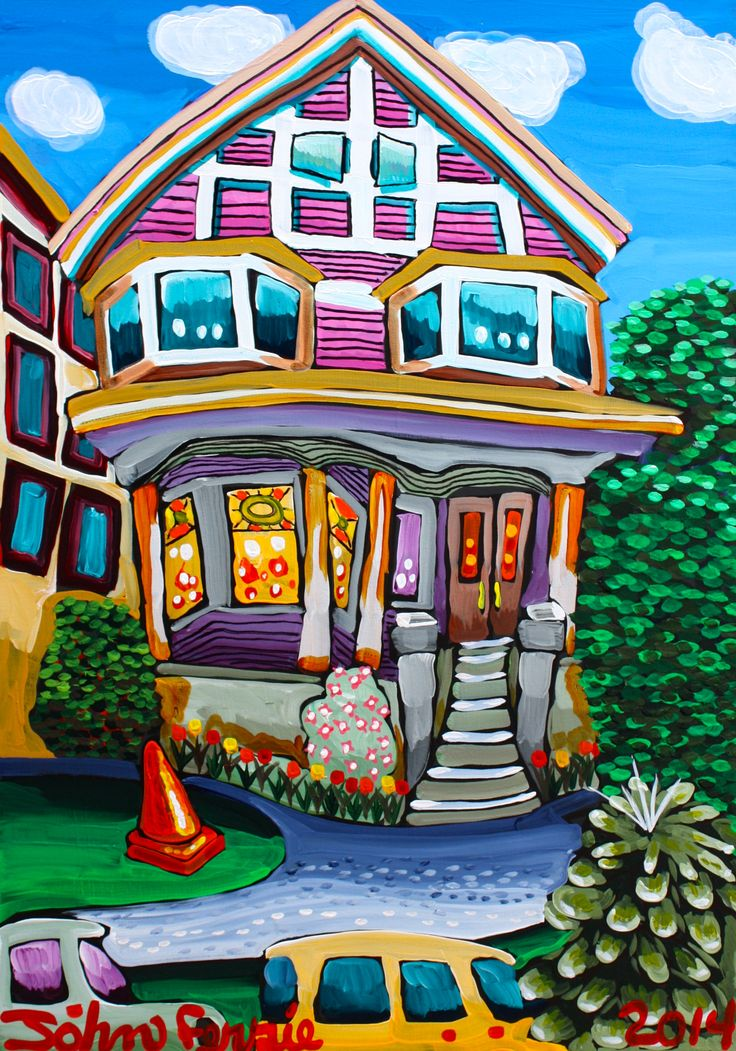 """West End Guest House, 28"""" x 40"""", acrylic on canvas with KRink, 2014"""