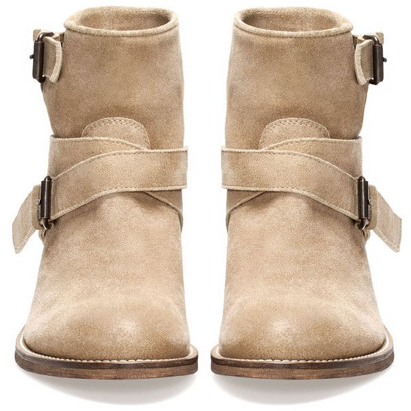 HIDE STRAP ANKLE BOOTS - · Boots and ankle boots - FOOTWEAR - PULL&BEAR United Kingdom ($31) found on Polyvore featuring shoes, boots, ankle booties, botas, zapatos, strappy bootie, bootie boots, strappy boots, ankle strap booties and strappy booties