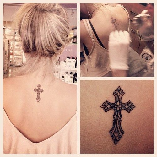 Simple Cross Tattoo On Neck