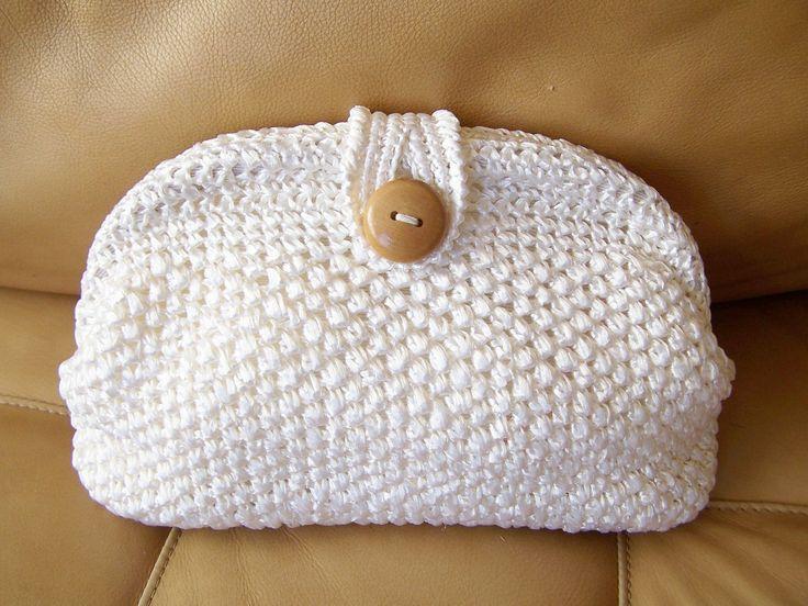 White Clutch Raffia Crochet Bag