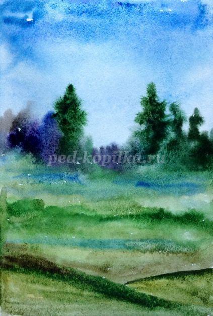 6 Завершаем фон земли, нарисовав пригорки, начиная с тёмно-зелёного, постепенно делая краску светлее